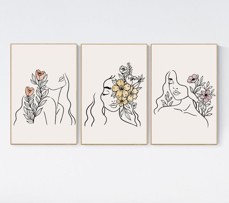 Woman Flowers Line Art Printable Set Of 3 Woman S Face Etsy Line Art Drawings Face Line Drawing Printable Art
