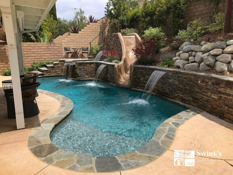 Swimming Pools In Ventura County Pool Builders In San Fernando Valley Swink S Creations In 2020 Backyard Pool Swimming Pool Builder Freeform Pools
