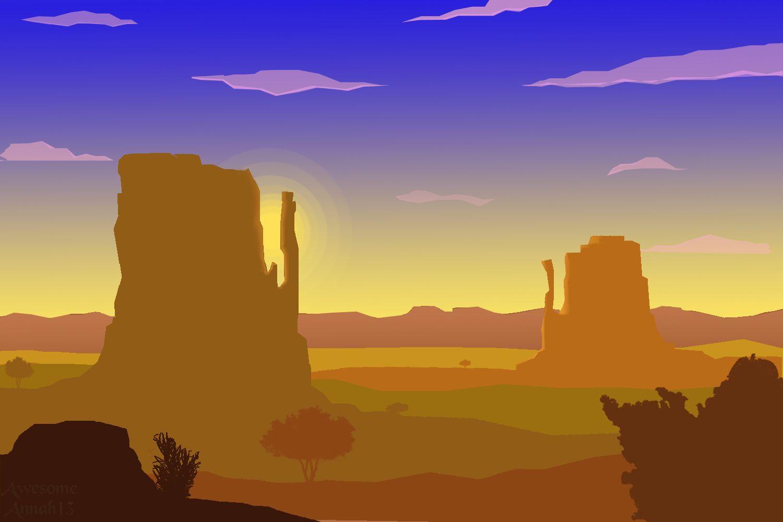 Desert Evening Flat Landscape Evening Flats Landscape Behance