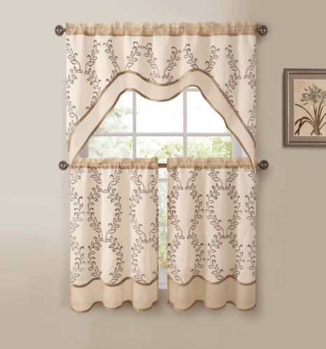 3 Pc Kitchen Window Curtain Set Two Layer Sheer Vine Embroidery