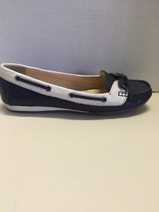 Cole Haan D41752 Blue White Leather Women's Boat Shoes Flats Size 8 | eBay