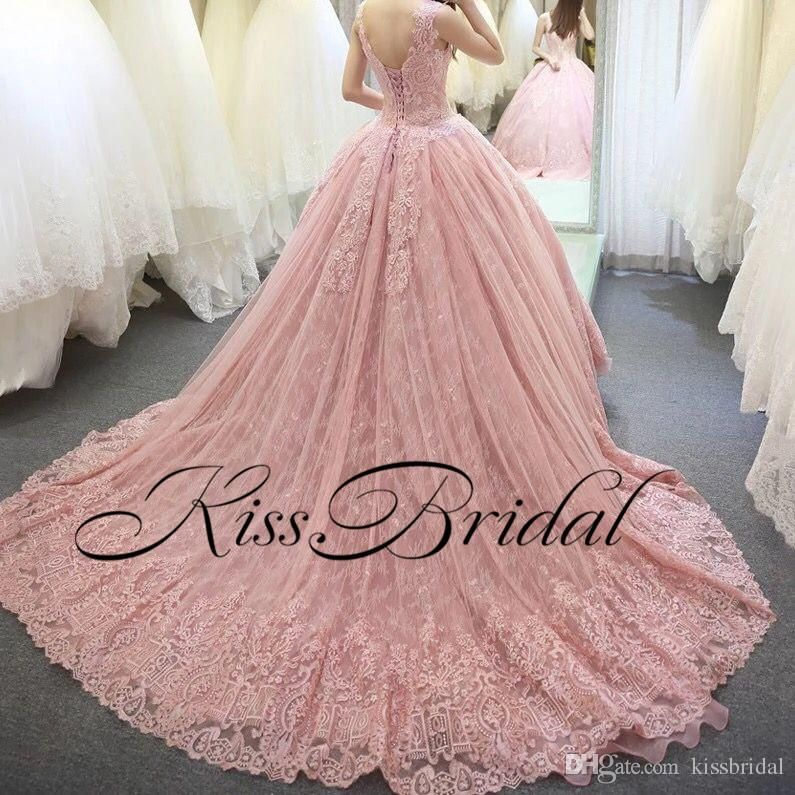 Big Ball Gown Color Wedding Dresses Vintage Full Lace Arabic Dubai Princess Bridal Gowns Sleeveless Long Court Train Ball Gown Prom Dress Ball Gown Wedding Dres Princess Bridal Gown Prom Dresses