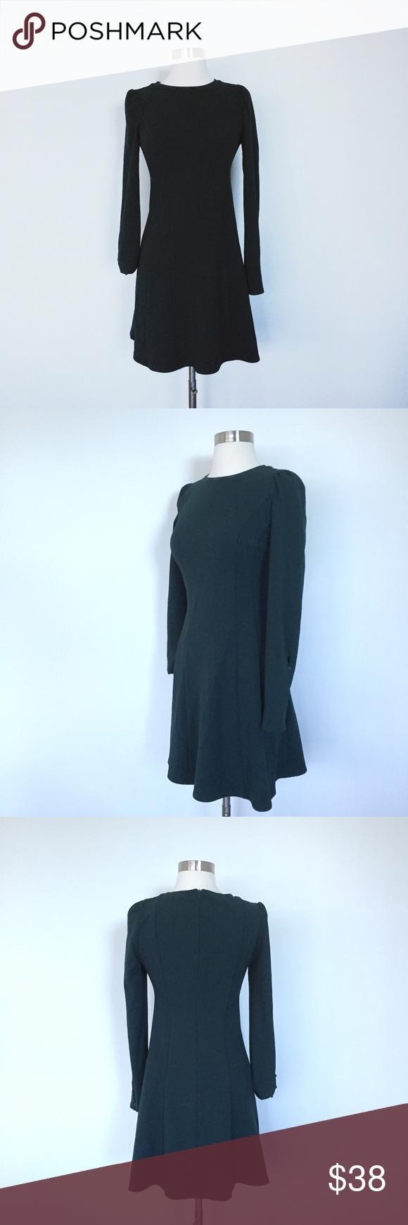 840e2bb1 Zara: Dark green long sleeve dress Beautifully constructed dark green dress.  Button detail on sleeve. Boat neck. Zara Dresses Long Sleeve