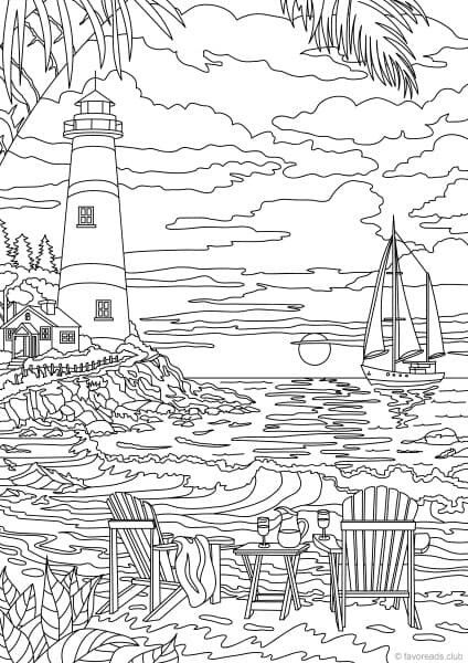 T T Lighthouse Ship Sea Beach Chair Cloufd Adult Coloring Book