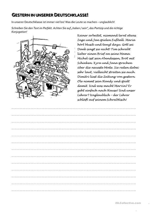 Perfekt - eine Geschichte schreiben | Deutsch, Classroom management ...