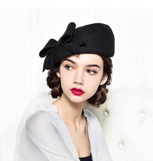 26f24f0df78a8 FS Elegant Winter 100% Australian Wool Felt Fedora Red White Black Wedding  Hats Women Female
