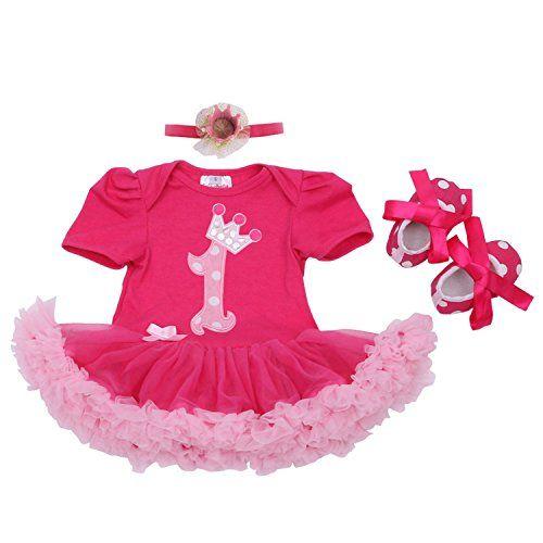 BabyPreg Baby Girls 4PCs Crown Pattern 1st Birthday Tutu Dress Headband Shoes
