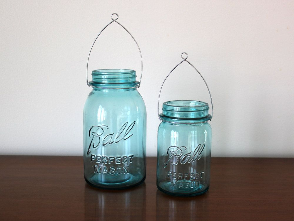 Hanging Mason Jar Lanterns - Blue Jars and Hangers (4 Pint and 3 ...