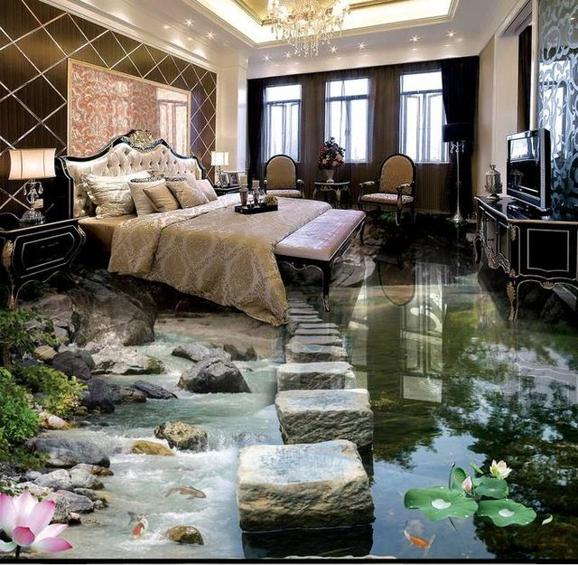 Mind Blowing 3d Flooring Tiles Ideas For Relaxing 3d Floor Art In Home Beach Living Room Floor Wallpaper Luxurious Bedrooms