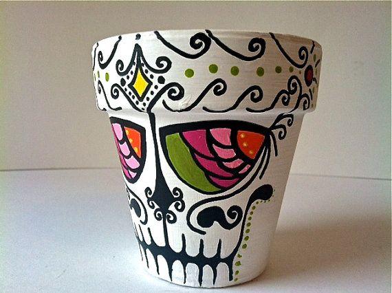 Day Of The Dead Sugar Skull Flower Pot Planter By GingerPots, $12.00