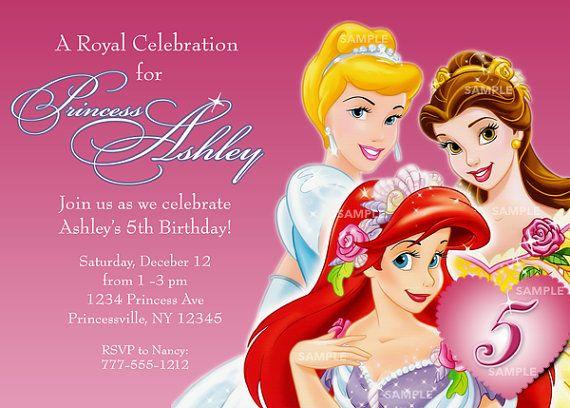 Cinderella Belle Ariel Invitation For Disney By PixelParade 999