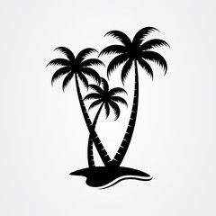 Palm tree silhouette icon simple flat vector illustration