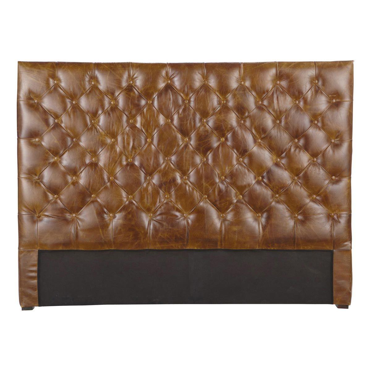 Brown Vintage Leather Headboard 140 Cm Chesterfield