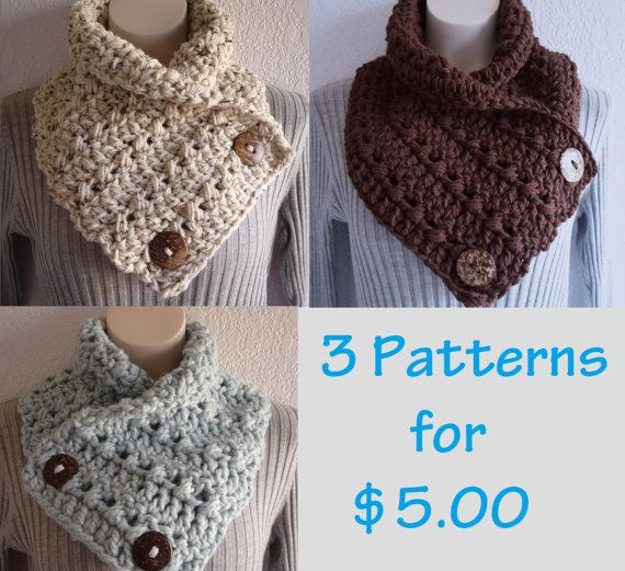 Crochet Chunky Crochet Cowl Neckwarmer Scarf with Buttons Patterns ...