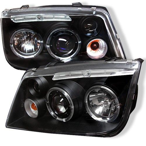 For 1999-2005 VW Jetta LED Dual Halo Rims Black Clear Projector Headlights Lamps