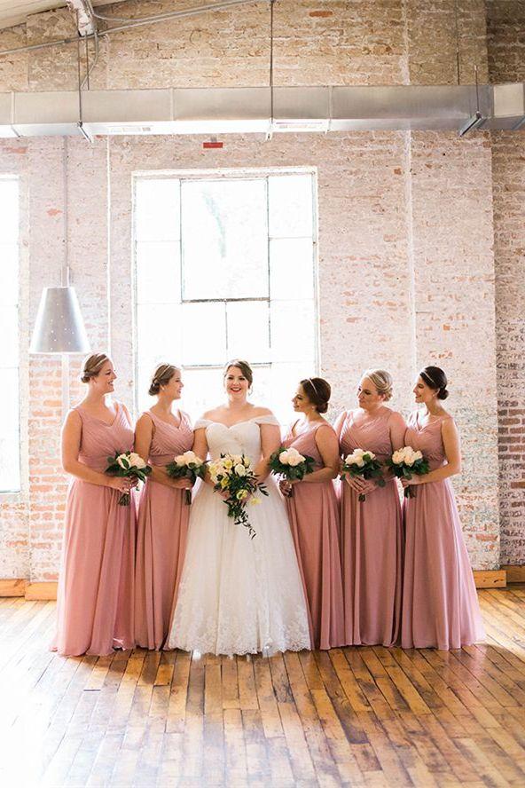 e454de3c64d A-Line V-Neck Floor-Length Blush Chiffon Bridesmaid Dress with ...