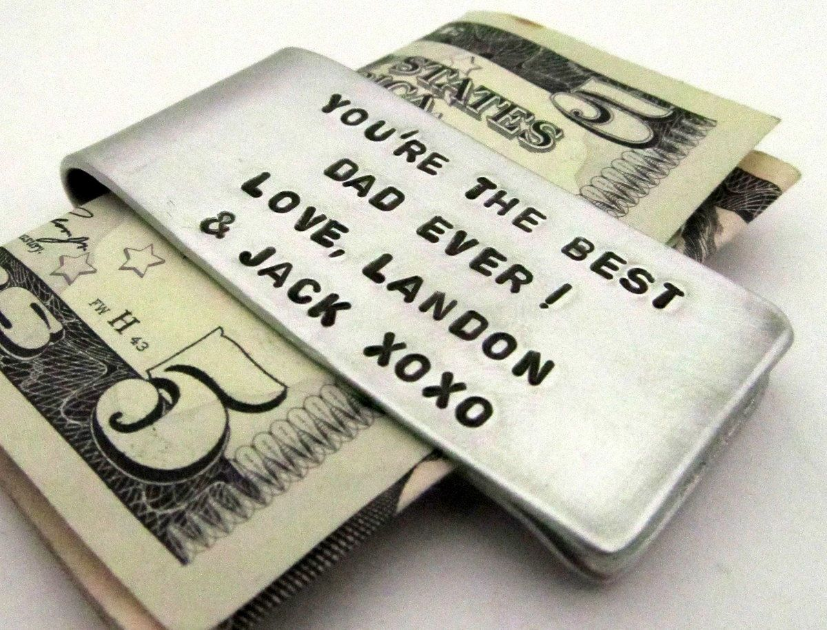 Personalized Money Clip Hand Stamped Accessories For Dad