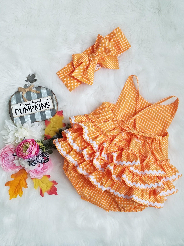 Tan Beige Boho Shabby Girl Baby Infant Birthday Outfit Romper