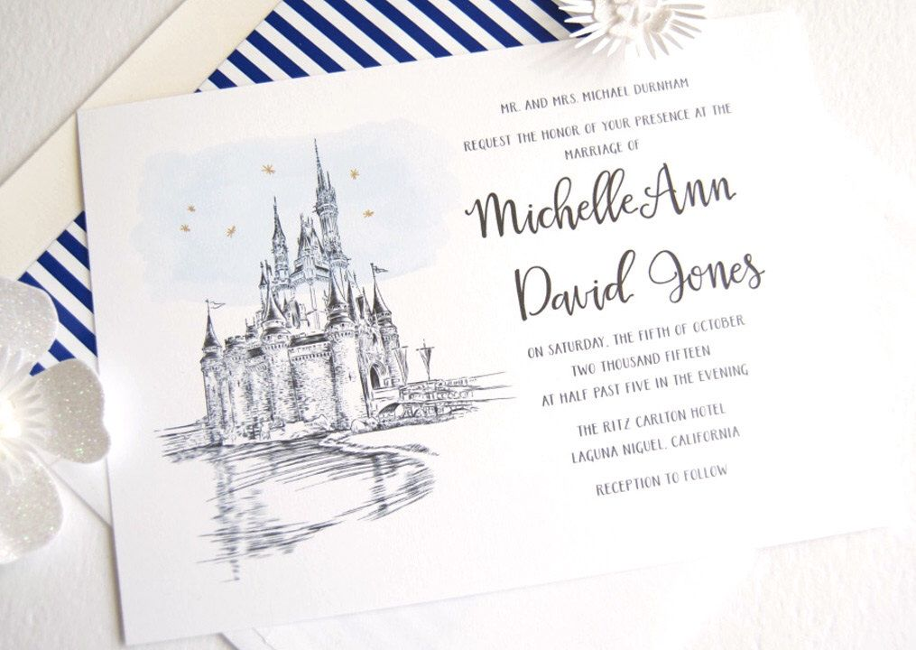 Disney World Cinderellas Castle Fairytale Wedding Invitation Quinceanera Package Sold In Sets Of 10