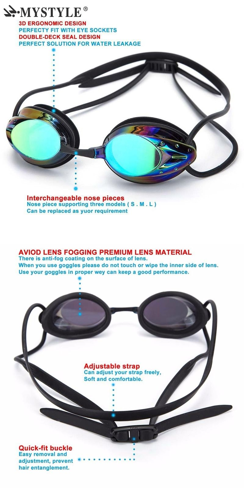 e560209b199 2017 NEW Brand MYSTYLE Swim Goggles Adjustable Electroplating Water Resistant  Anti-fog UV Protection Swimming