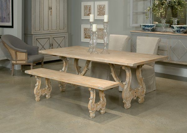 Cool Baroque Dining Table Old Pine Gray Finish 7 Foot Dinner Pabps2019 Chair Design Images Pabps2019Com