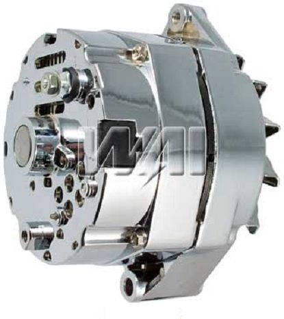 NEW CHROME BBC SBC CHEVY ALTERNATOR FITS 110 AMP 1 WIRE HO SELF EXCITING ENERGIZING