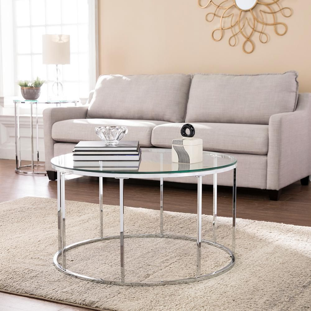Southern Enterprises Selma Chrome Glass Top Round Cocktail Table Hd524085 Round Glass Coffee Table Round Coffee Table Glass Top Coffee Table