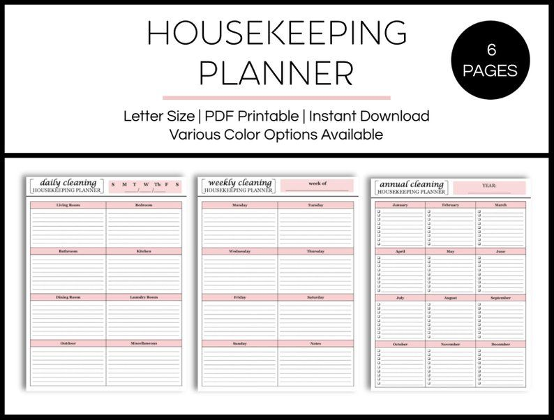 Housekeeping planner cleaning checklist chore chart