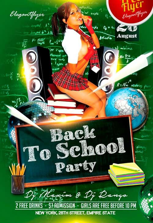 Free Back 2 School Party PSD Flyer Template - http://freepsdflyer ...