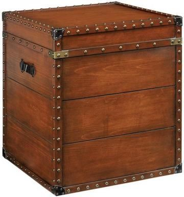 Square Steamer Trunk End Table   End Tables   Living Room Furniture    Furniture