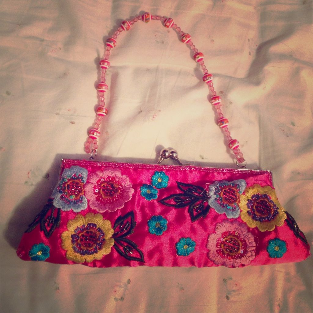 Pink Satin Clutch With Handle