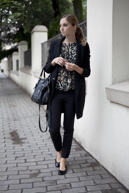 Fr hjahr herbst casual schwarze skinny jeans schwarz wei gemusterte bluse schwarzer - Schwarzer langer mantel ...