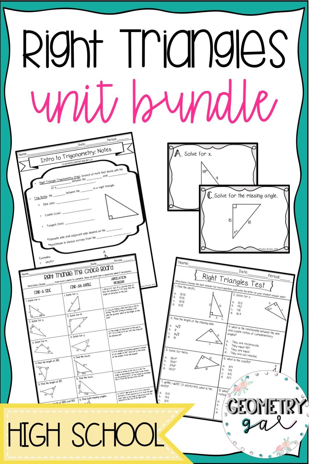 Right Triangles Unit Bundle With Images
