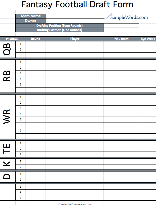 soccer team positions template - printable fantasy football draft form fantasy football