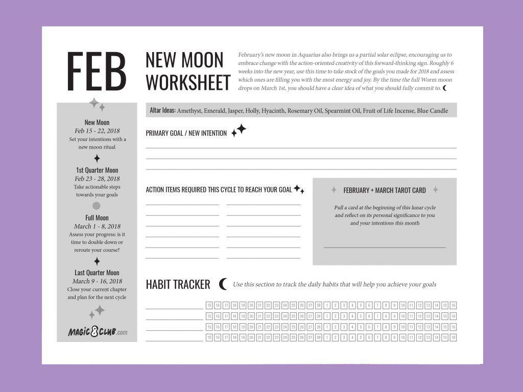New Moon Worksheet