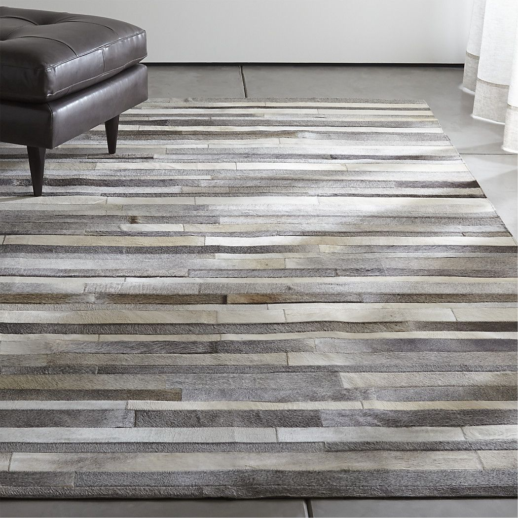 Fonda Grey Striped Cowhide Rug Crate And Barrel