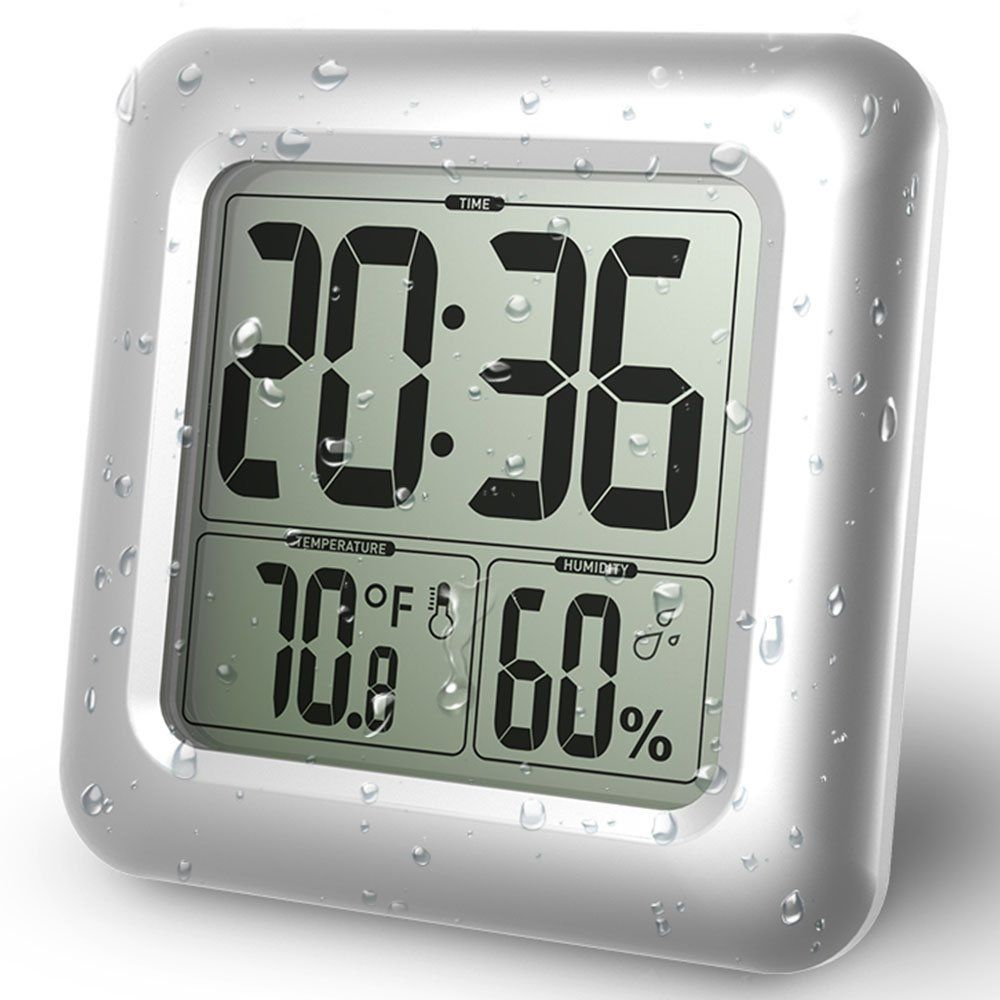 Baldr lcd bath shower clock waterproof bathroom clock wall baldr lcd bath shower clock waterproof bathroom clock wall mounted suction cups amipublicfo Image collections