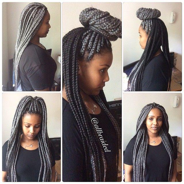 Length Box Braid Hair Colour Grey And 1b Natural Black Boxbraids Pro Allbraided
