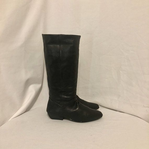 e2b51d3cff72a Sz 10 M Vintage Tall Black Genuine Leather 1990s 9West Women Pull On ...