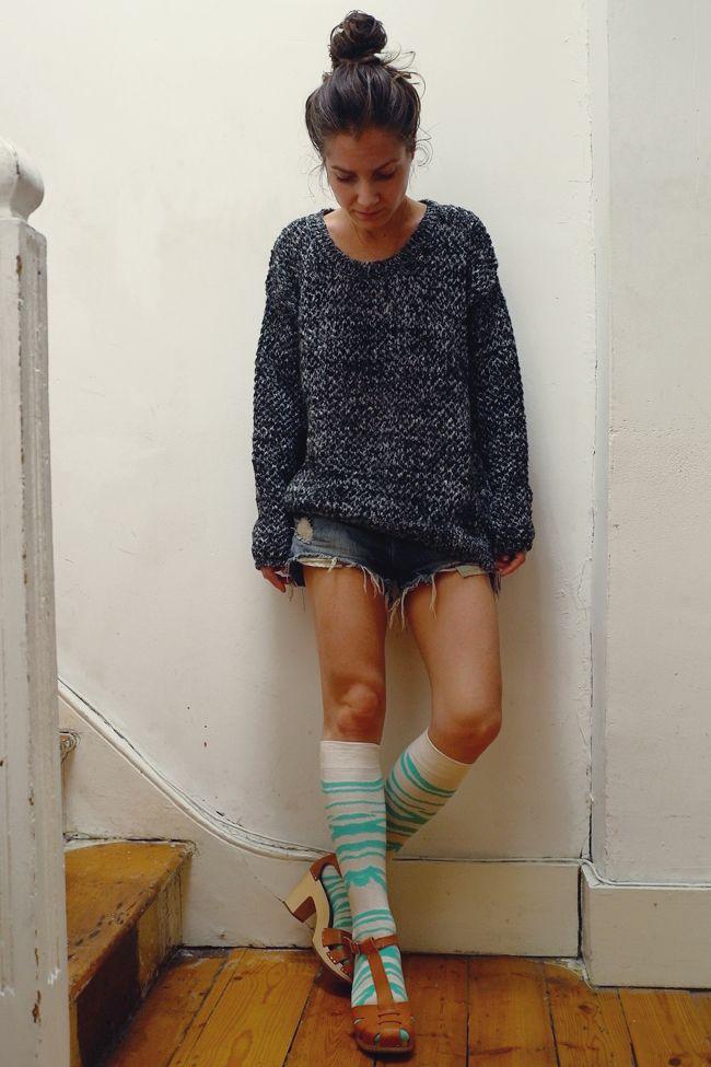 7e38b48ec39 Clogs with knee high socks. UK fashion blogger   Dress Me Up   Happy ...
