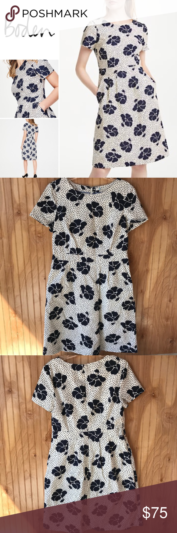 Boden Sierra Textured Dress Navy Blue Off White Yes You Can Nail