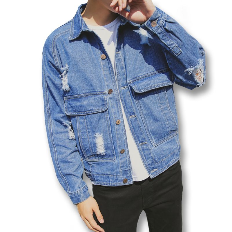 Click to Buy << 2017 New Men Ripped Hole Denim Jeans Jackets Coats. >>