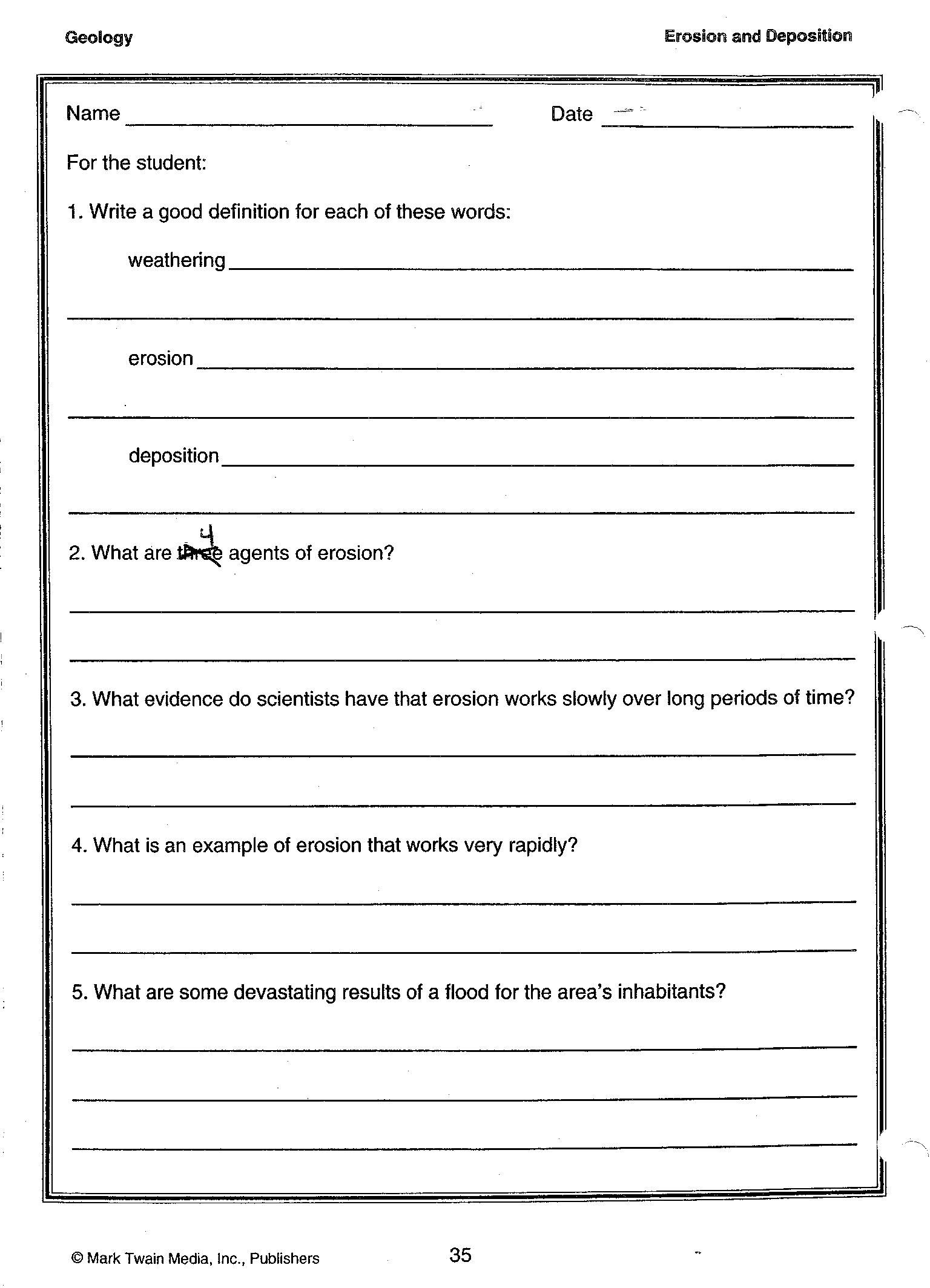 Free Printable Weathering And Erosion Worksheets
