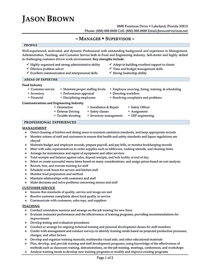 sample of restaurant manager resume