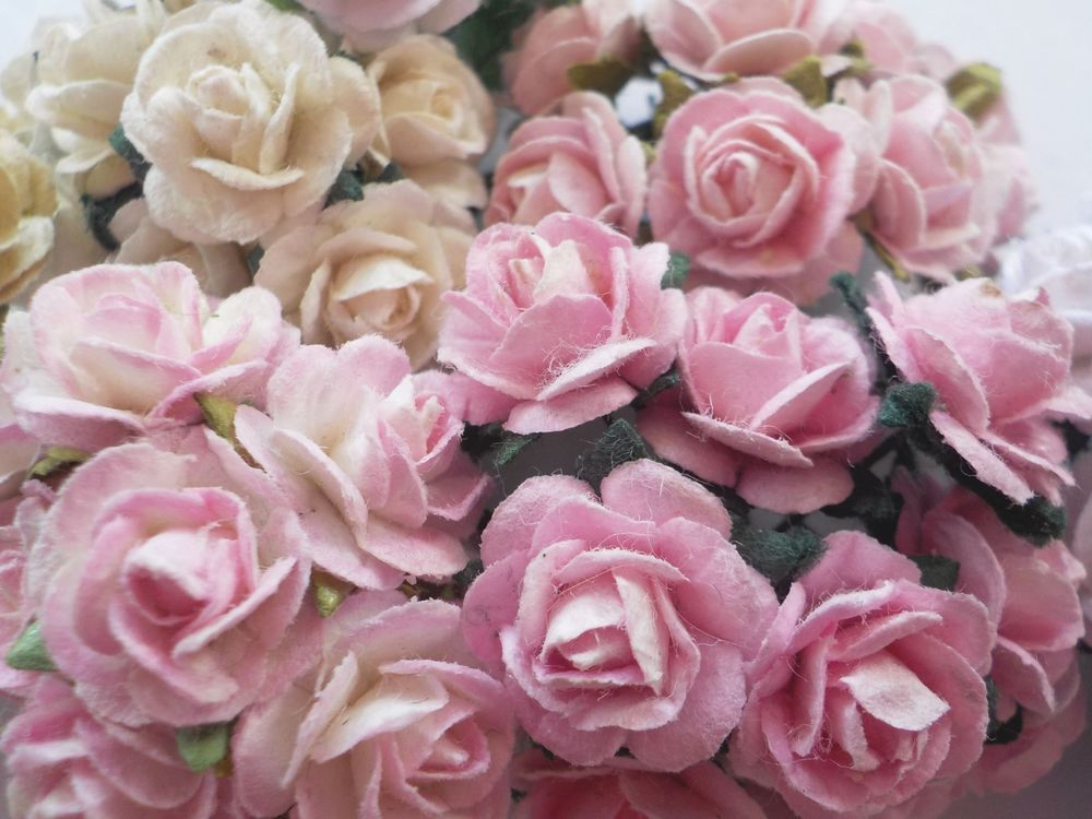 Details About 100 Cute Handmade Mulberry Paper Roses 10mm