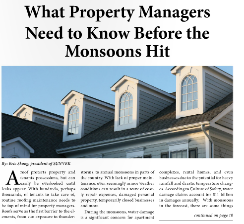 Monsoons Are Kicking In For Arizona Sunvek Roofing Sat Down With Rental Housing Journal To Share What Prope Property Management House Rental Brand Marketing