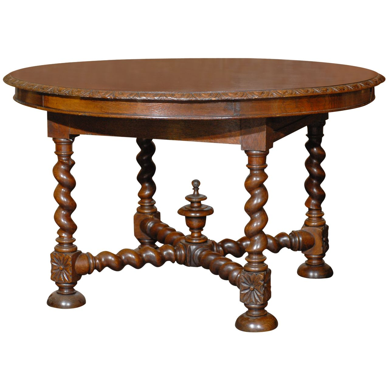 English round table with barley twist legs center table for Center table legs