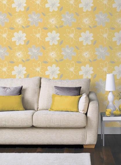 Metallic Leaf Wallpaper Ochre Yellow Grey White Gold Floral Arthouse Amira
