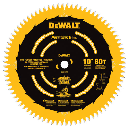 Dewalt Dw3219pt 10 Precision Trim Saw Blade Specialty 80t In 2020 Circular Saw Blades Saw Blade Table Saw