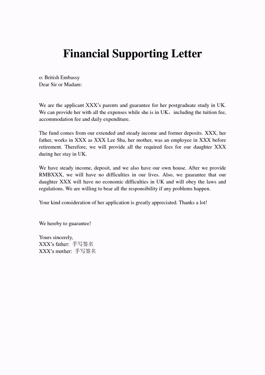 Letter Of Financial Support For Tourist Visa